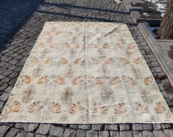 Beige Color Turkish Rug Free Shipping Boho Rug 5.6 x 8.3 ft. Handknotted Turkish Rug Bohemian Rug Decorative Rug Bathroom Turkey Rug MB44