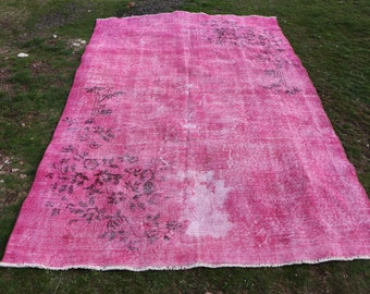 Free Shipping turkish overdyed rug 5.7 x 8.9 ft. pink color area rug, turkish rug, floor rug, bohemian rug, decorative over dyed rug MB524