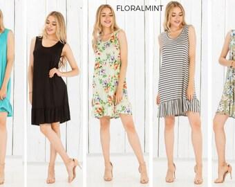Floralmint Women's Sleeveless Ruffle Hem Dress