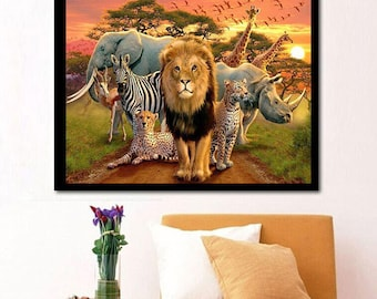 5D DIY Diamond Painting lion diamond painting full Square Diamond embroidery Kits Pictures of crystals home deocr