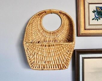 Vintage Boho Wicker Wall Basket