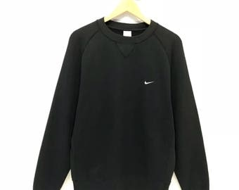 Rare!!! Vintage Nike Sweatshirt Small Logo Embroidery Pullover Jumper Sweater Crew Neck L Size