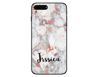 Personalised Rose Gold Marble Name Phone Case for Apple iPhone and Samsung Galaxy 5 6 6s 7 8 10