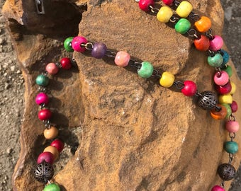 Wooden beads colorful Rosary