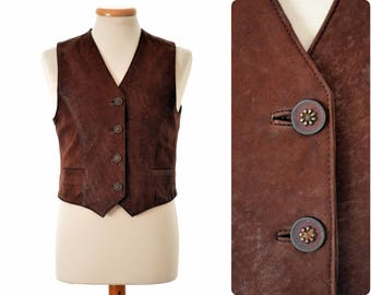 Lambskin hunting - folk WAISTCOAT by CABRINI / Trachtenweste / womens size D 38, S small / brown / Titze Ledermoden, Nürnberg