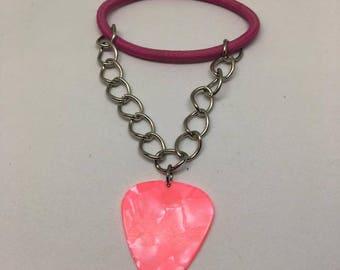 Pink Guitar Pick Bracelet