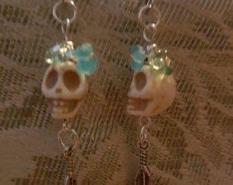 Floral skull earrings