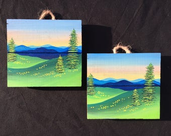 Blue Ridge Mountains  on wood.
