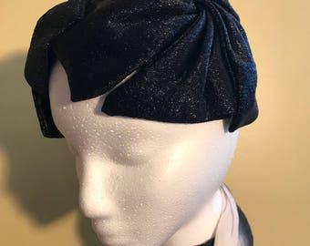 Elegant Vintage Black Shimmery Scullcap Hat