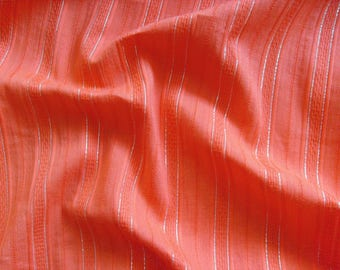 Cotton fabric V3547 in orange with silver Lurexstreifen