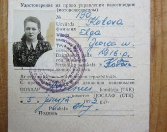 USSR Russia -  Latvia permit to drive bicycle  y 1973
