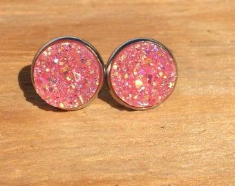 Think Pink! : Faux druzy stud earring