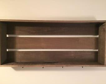 Rustic Shelf with Hooks
