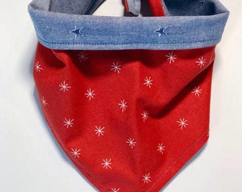 Independence Day | Chambray and Red Stars Reversible Pet Bandana | Dog Bandana | Cat Bandana |