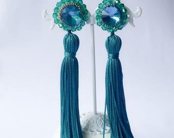 turquoise earrings, Aqua earrings, long earrings, aqua tassel earrings, tassel earrings, bridesmaid earrings, bridesmaid jewelry, boho, blue