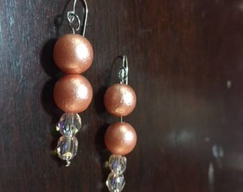 peach crystal drop earrings