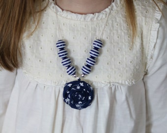 Navy Flower Pendant Necklace