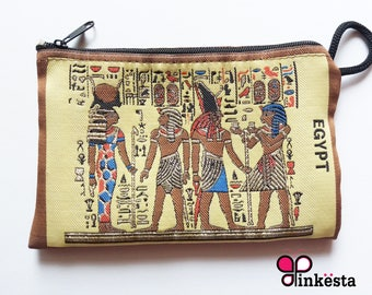 Vintage Egyptian Pharaoh Queen Nefertiti,King Horas,King Tut  pouch wallet