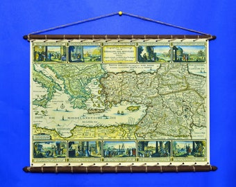 Ancient Antique Old Rare Biblical MAP Of Jakob Savry Print On 100% Cotton Canvas And swen to a Round Wooden Hanger Frame with Vintage Rope
