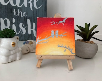 Mini Canvas Painting with Easel, Birds and Sunset