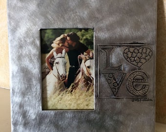 "4""x6"" photo frame, ""Love"" Mexican repujado technique"