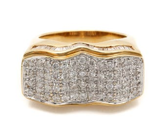 18K Solid Yellow Gold 1.11 ctw pavé Set DIAMOND RING SZ 8 *14G*
