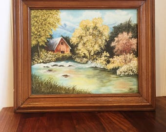 Barn in the woods painting.