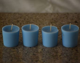 Ocean Scented Blue Votive Candles- Set of Four