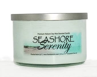 Seashore Serenity™ Large 3 Wick Premium Natural Soy Wax Scented Candle
