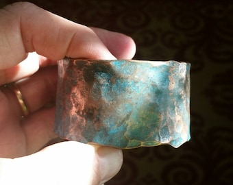 Copper, cuff bracelet, hammered,handmade,patina, 6 inch, 1 3/8 inch wide, 2 1/2 diameter, adjustable.