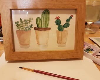 Cactus watercolour painting