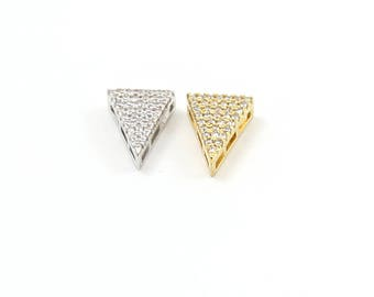 Pave CZ Triangle Bead Cubic Zirconia Rhodium Plated Gold or Silver Geometric Pendant