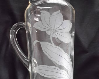 Etched glass martini pitcher