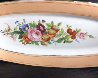 Vintage Porcelain Vieux Paris Old Paris Fish Plate Antique Ceramic Oval Platter Large Fish Platter Peach Band Gold Trim Floral Design