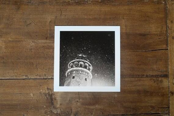 Galata Tower under a snowfall - Fine art print