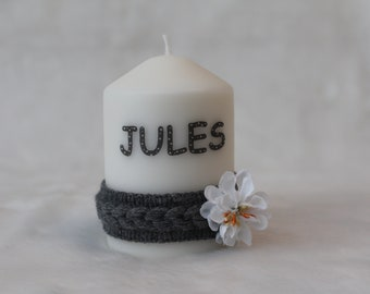 personalized name boy candle