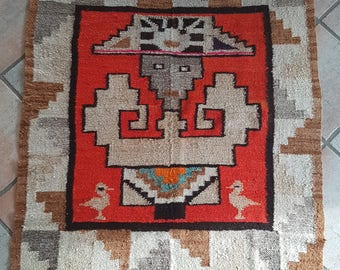 Old Zuni Knifewing God Rug Blanket Decke Wandbehang