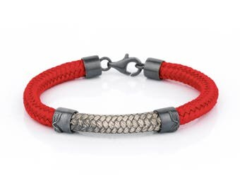 Angelorum sterling silver bracelet. With red  nautical nylon cord.