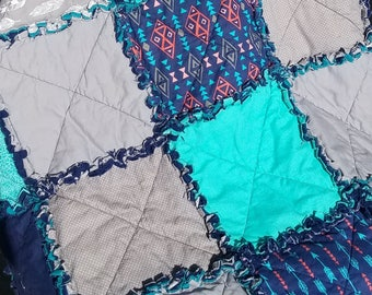 Aztec Crib Size Rag Quilt