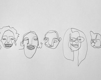Custom Continuous Blind Contour Portrait