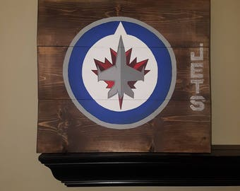 Winnipeg Jets  wood sign