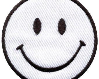 White smiley face retro fun smile embroidered applique iron-on patch new