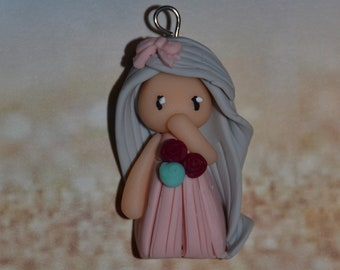 Poppet with polymer clay pink, gray - Collection bridesmaid jewelry - jewelry handmade