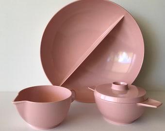 Vintage Melmac by Capac pastel pink serving set