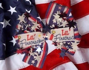 Little Firecracker Patriotic Hair Bow