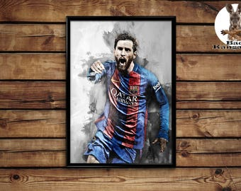Messi print wall art home decor poster