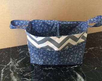 Grey and white chevron fabric basket