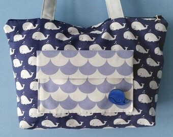 Blue bag, bag with whales, shoulder bag, big bag, summer bag, fabric bag, hand made bag, cloth bag, woman bag