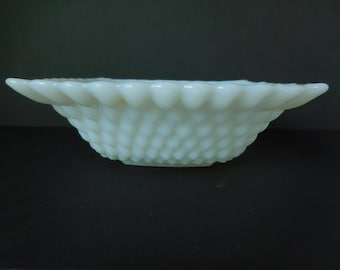 Hobnail Milk Glass Square Bowl made by Anchor Hocking/Diamond Pattern