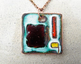 Abstract geometric pendant Cloisonne enamel pendant Enameled Copper Necklace Metalwork Jewelry Free shipping